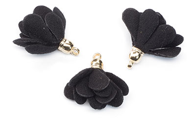 black flower pompom 20mm x10pcs