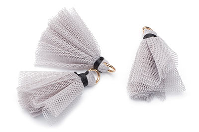 tassel fabric 30mm gray x20pcs