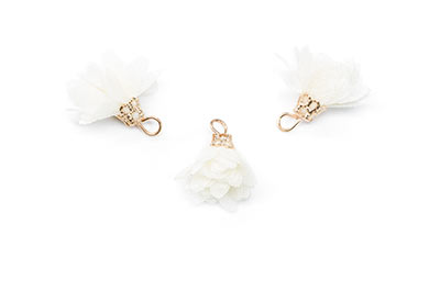 tassel flower 16mm ivory x12pcs