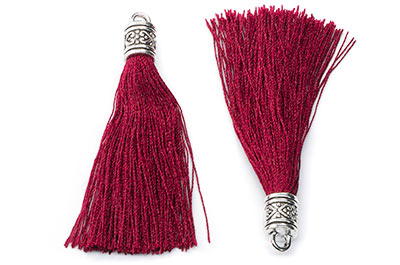 75mm burgundy tassel x6pcs