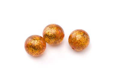 perle polaris ronde pailletée 14mm orange x15pcs