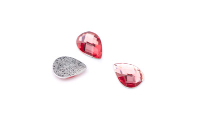 acrylic cabochon facetted drop 14x10mm grenadine x50pcs