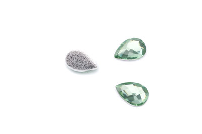 acrylic cabochon facetted drop 14x10mm light green x50pcs