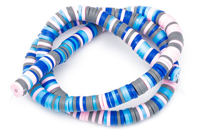 polymer heishi washer 6mm blue pink x4strand