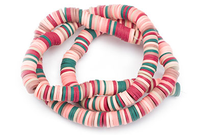 polymer heishi washer 6mm pink green red x4strand
