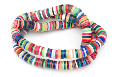 polymer heishi washer 6mm red blue white green x4strand