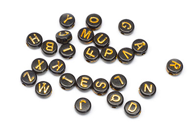 pearl acrylic round letters 7x4mm black gold x50pcs
