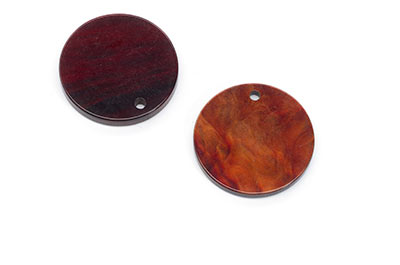 round cognac red cellulose acetate pendants 25mm x10pcs