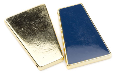 Kunstharz Trapez 46x31mm gold marinen blau x5pcs