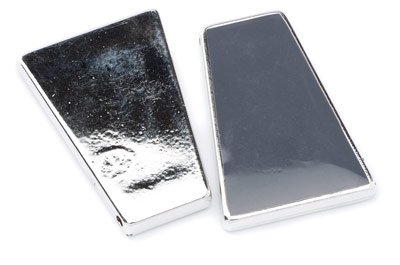 acrylic trapeze 46x31mm rhodium grey x5pcs