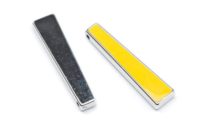 acrylic trapeze 52x12mm rhodium yellow x10pcs