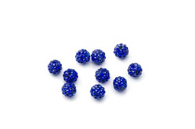 shamballa bead 6mm blue x10pcs