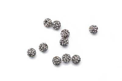 shamballa bead 6mm dark gray x10pcs