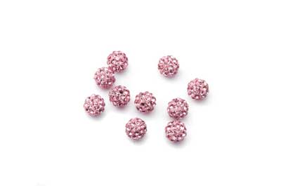 shamballa bead 6mm pink x10pcs