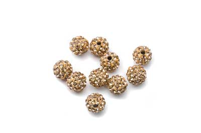 shamballa bead 8mm gold plated bead x10pcs