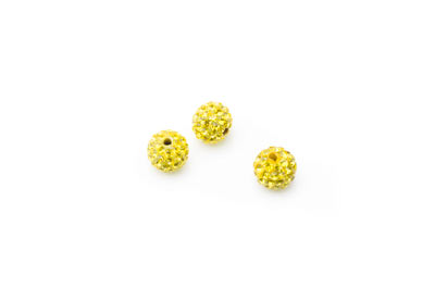 shamballa bead 8mm yellow x10pcs