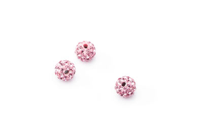 shamballa bead 8mm pink x10pcs