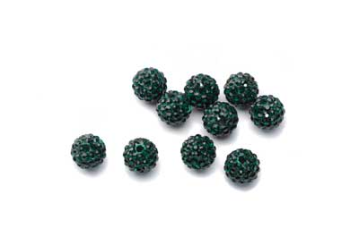 shamballa bead 8mm dark green x10pcs