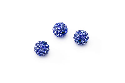 shamballa bead 10mm blue x10pcs