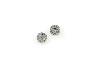 shamballa beads 10mm dark grey x10pcs