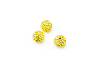 shamballa bead 10mm yellow x10pcs