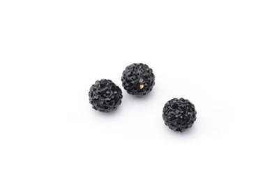 shamballa bead 10mm black x10pcs