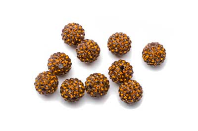 shamballa bead 10mm topaz x10pcs