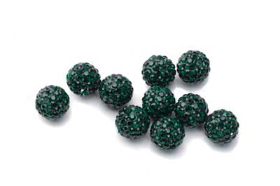 shamballa bead 10mm dark green x10pcs