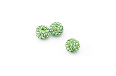shamballa bead 10mm green x10pcs