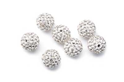 shamballa bead 12mm silver x10pcs