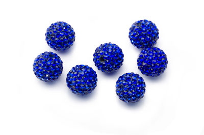 shamballa bead 12mm blue x10pcs