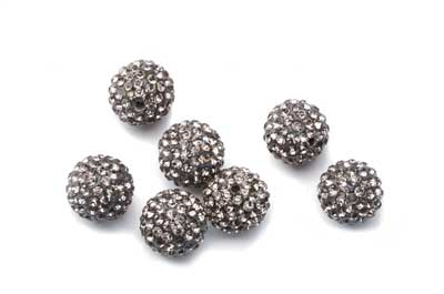 shamballa bead 12mm dark gray x10pcs