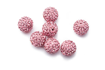 perle shamballa 12mm rose x10pcs